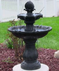 2 Tiered Solar On Demand Fountain Birdbath in Black