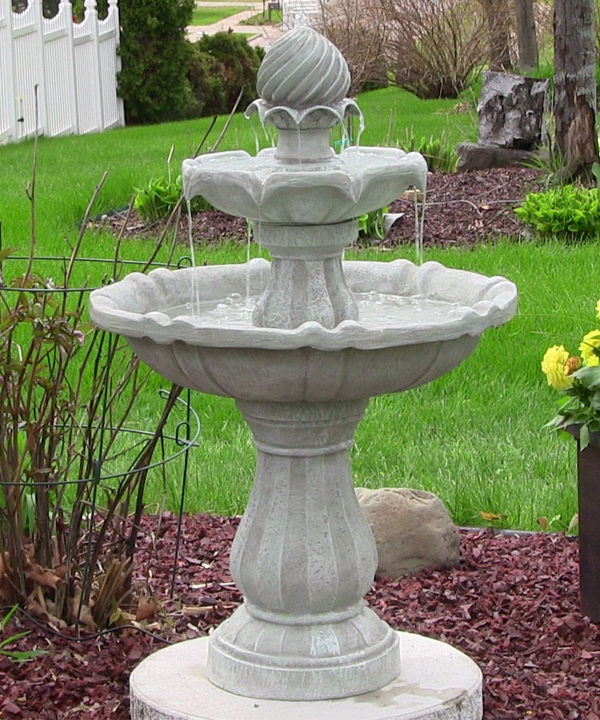 2 Tier Solar On Demand Water Fountain White Earth