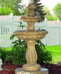 2 Tier Solar On Demand Water Fountain Earth Tone