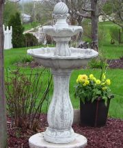 White 2 Tier Arcade Solar on Demand Fountain with LEDs