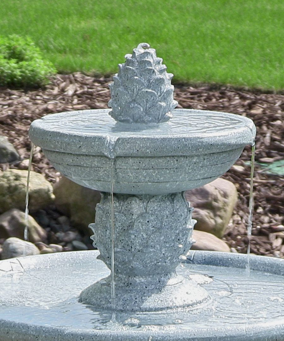 Pineapple 2 Tier Solar On Demand Fountain With Led Lights