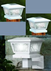 Set of 2 White Fairmont Post Cap or Wall Solar Lights