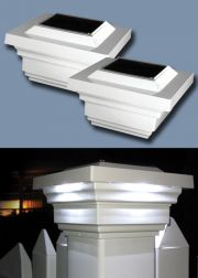 Set of 2 Regal Post Cap Solar Lights in White