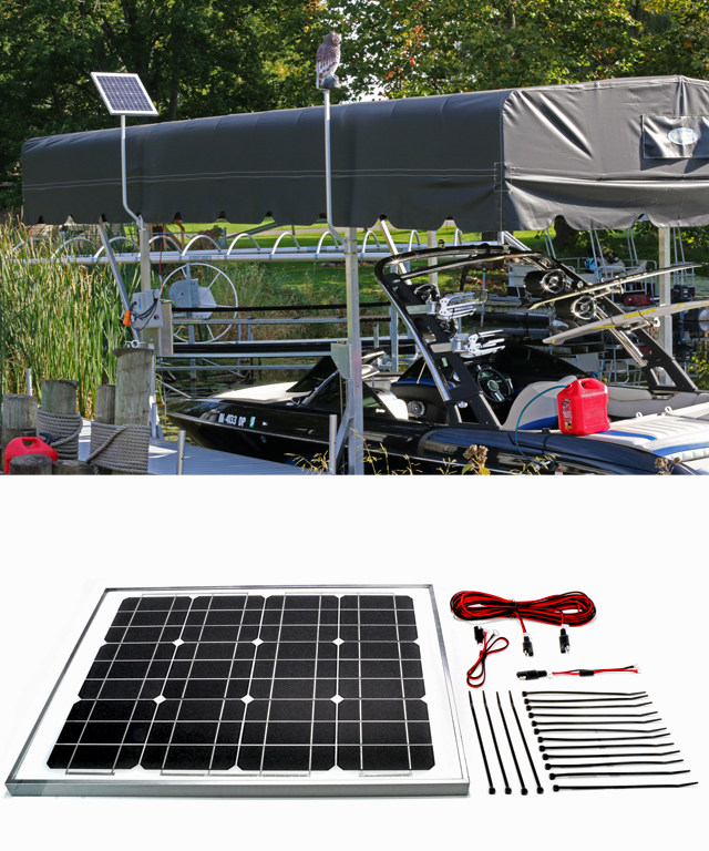 30w 12v solar marine boat lift charging kit for Boat lift motors 12 volt