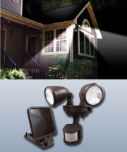 Solar Powered Dual Head Security Spot Lights Bronze