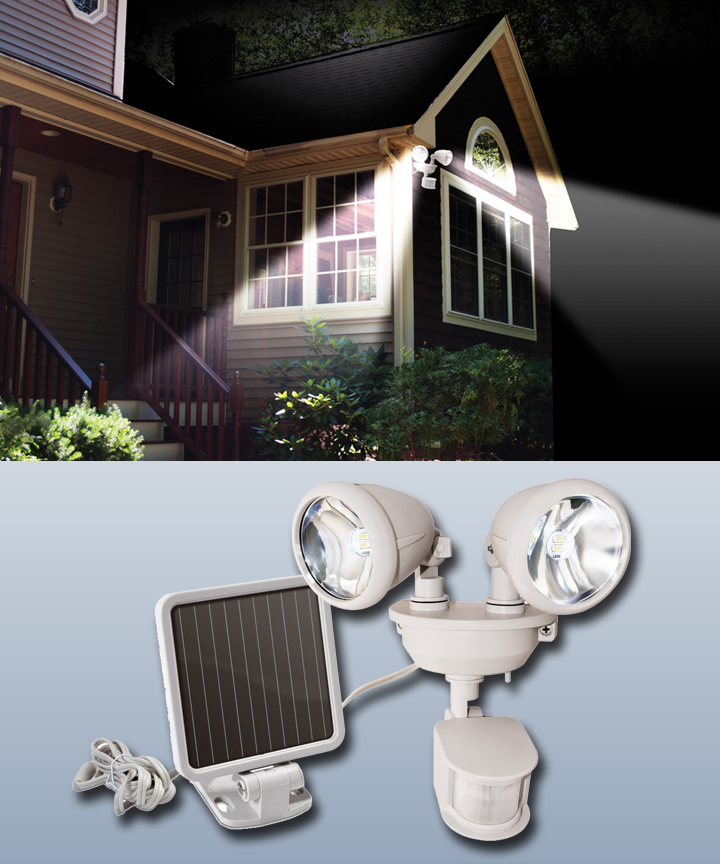 Solar Powered Dual Head Security Spot Lights White