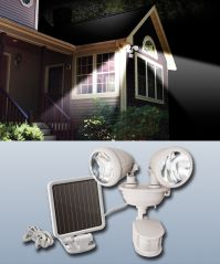 Solar Powered Dual Head Security Spot Light White