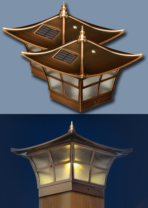 Set Of 2 Copper Ambience Post Caps Solar Lights
