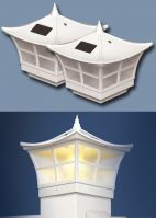 Set of 2 Ambience Post Caps Solar Lights in White