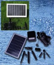 "Solar Pump and Panel Kit With Battery Pack, LED Light and Remote - 80"" Head"