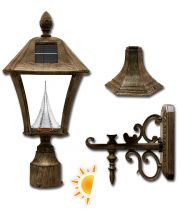 Baytown Solar Lamp 3 Mounting Options in Weathered Bronze