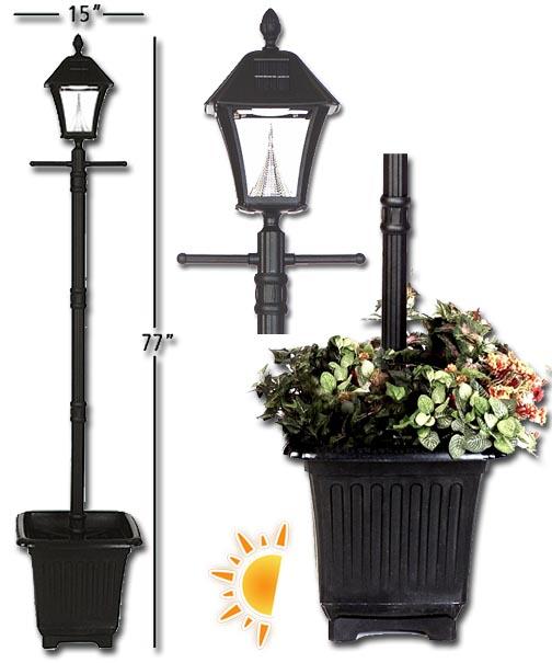 baytown solar lamp post with planter. Black Bedroom Furniture Sets. Home Design Ideas