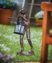 Frog with Solar Lantern Outdoor Statuary