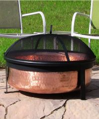 Hammered Copper Fire Pit with Stand