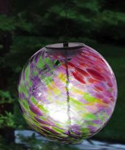 Hanging Solar Gazing Ball Pink and Green