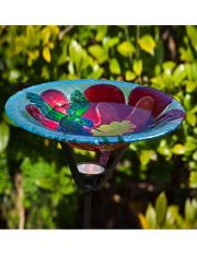 Hummingbird Harmony Glass Birdbath with Solar Stake