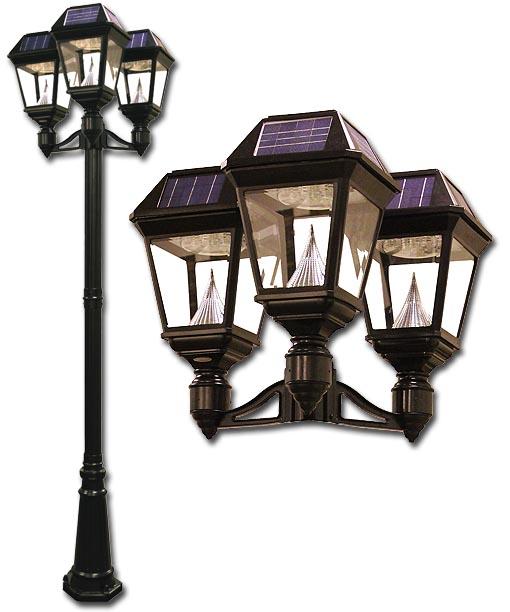 Imperial Ii Solar Lamp Post Triple Head