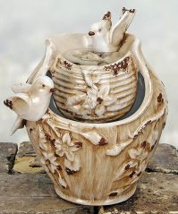 Tabletop Fountain Distressed Ivory Pots with Birds