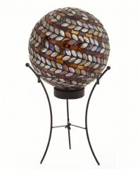Metallic Spiral Solar Gazing Ball with Stand