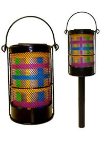 Pair of Modern Color Striped Lanterns