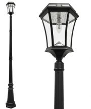 Victorian Solar Lamp Post with New Bulb and Cone