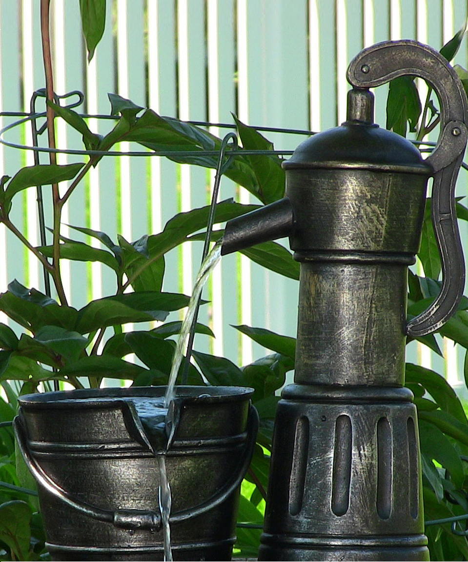 Old Fashioned Water Pump With Barrel Solar On Demand Fountain