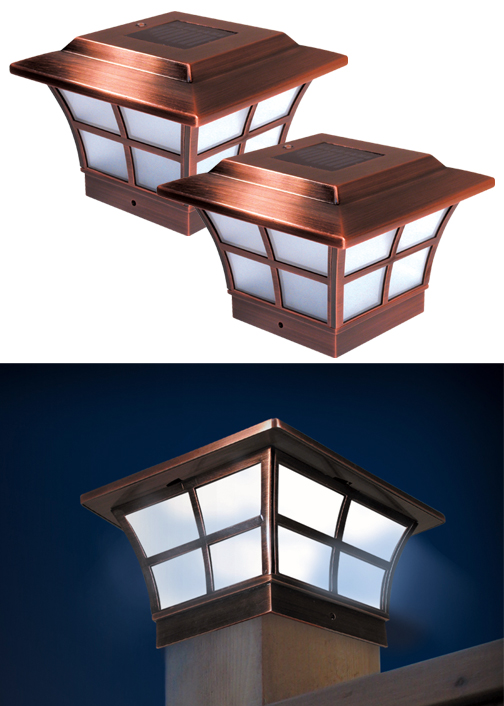Set of 2 prestige copper post cap solar lights aloadofball Image collections