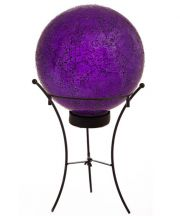 Purple Mosaic Solar Gazing Ball with Stand