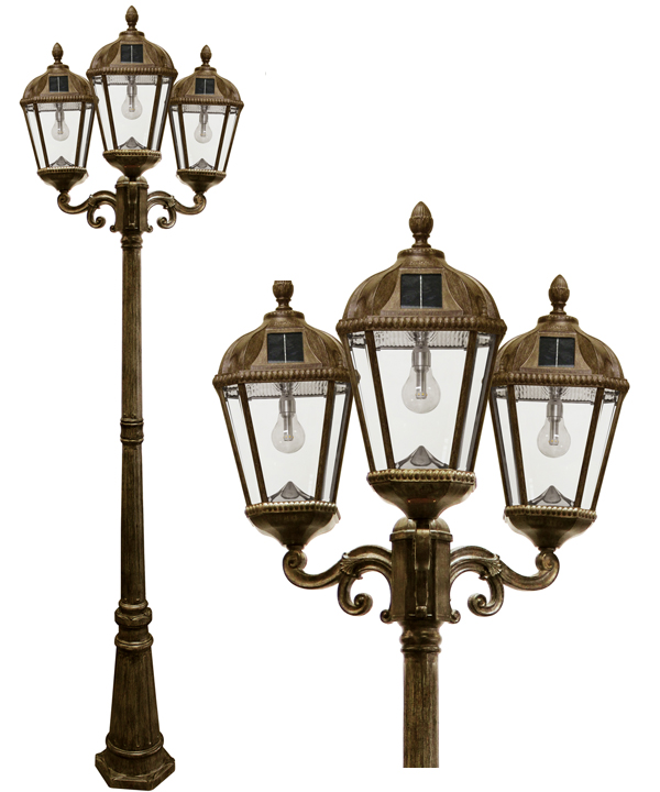 Royal Triple Solar Lamp Post with GS LED Bulbs