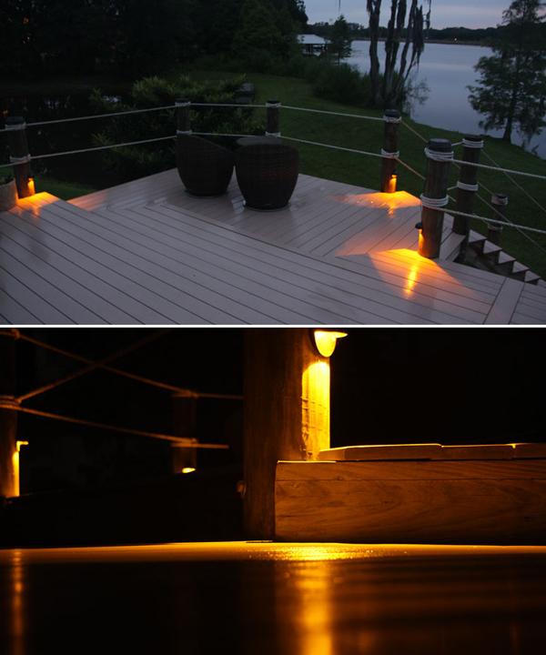 Solar Piling Down Lights For Docks And Decks
