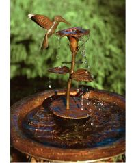 Copper Hummingbird Dripper Fountain