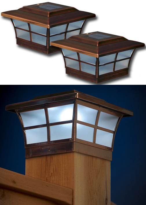 Set Of 2 Prestige Copper 6x6 Post Cap Solar Lights