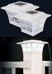 Set of 2 4x4 White Prestige Fence Cap Solar Lights