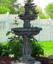 Two Tier Tulip Solar-on-Demand Fountain in Black