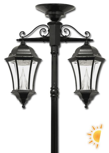 victorian solar lamp post with downward hanging lanterns - Solar Powered Lanterns