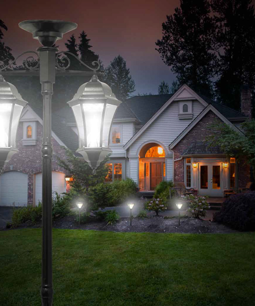 victorian solar lamp post with downward hanging lanterns - Solar Lamp Post