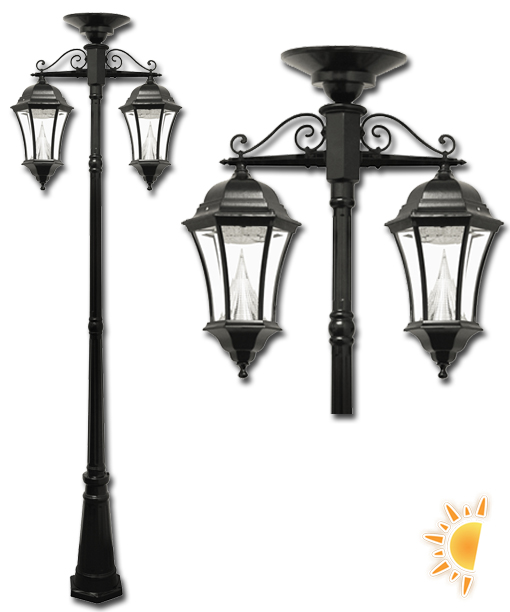 Victorian Post Lamp With 2 Downward Hanging Solar Lanterns