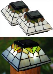 Set of 2 Wellington Stained Glass Solar Post Caps