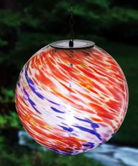 Blue and Red Hanging Solar Gazing Ball