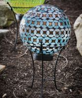 Geometric Sphere Solar Gazing Ball with Stand