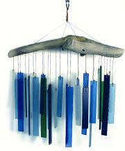 Handcrafted Wind Chime Sandblasted Glass Driftwood