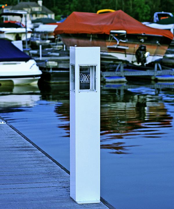 Welhome Bollard Light Garden Pedestal Led Solar Lamps: Marine Grade Solar Pedestal Lights 8x8x36