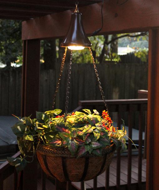 Hanging Flower Baskets With Lights : Hanging solar spotlight with planter basket