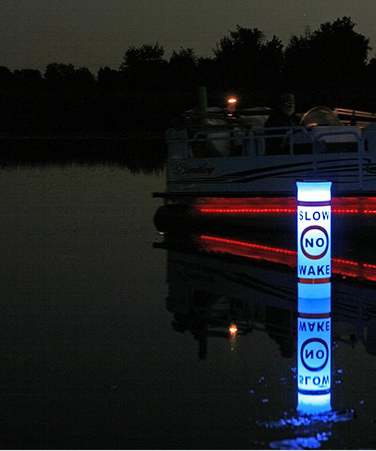 Buoy Illuminated By Solar Lights