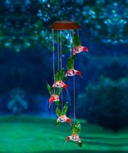 Hummingbird Painted Solar Mobile and Wind Chime